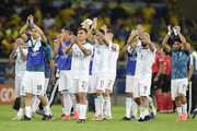 Players of Argentina acknowledge the fans after the Copa America Brazil 2019 Semi Final match between Brazil and Argentina at Mineirao Stadium on July 02, 2019 in Belo Horizonte, Brazil.