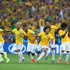 Hulk Luiz Gustavo Photos - Brazil celebrate after defeating Chile in a penalty shootout during the 2014 FIFA World Cup Brazil round of 16 match between Brazil and Chile at Estadio Mineirao on June 28, 2014 in Belo Horizonte, Brazil. - Brazil v Chile: Round of 16 - 2014 FIFA World Cup Brazil
