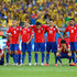 Gonzalo Jara Charles Aranguiz Photos - (L-R) Mauricio Isla, Francisco Silva, Felipe Gutierrez, Marcelo Diaz, Jose Rojas, Charles Aranguiz, Eugenio Mena, Gonzalo Jara and Alexis Sanchez of Chile look on after a missed penalty during the shootout of the 2014 FIFA World Cup Brazil round of 16 match between Brazil and Chile at Estadio Mineirao on June 28, 2014 in Belo Horizonte, Brazil. - Brazil v Chile: Round of 16 - 2014 FIFA World Cup Brazil