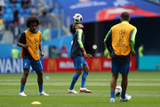 Neymar Jr of Brazil warms up prior to the 2018 FIFA World Cup Russia group E match between Brazil and Costa Rica at Saint Petersburg Stadium on June 22, 2018 in Saint Petersburg, Russia.