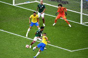 Gabriel Jesus of Brazil shoots past Jesus Gallardo  of Mexico during the 2018 FIFA World Cup Russia Round of 16 match between Brazil and Mexico at Samara Arena on July 2, 2018 in Samara, Russia.