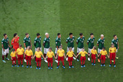 Mexico lines up prior to  the 2018 FIFA World Cup Russia Round of 16 match between Brazil and Mexico at Samara Arena on July 2, 2018 in Samara, Russia.