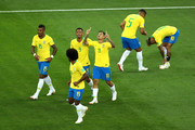 Philippe Coutinho of Brazil celebrates after scoring his team's first goal during the 2018 FIFA World Cup Russia group E match between Brazil and Switzerland at Rostov Arena on June 17, 2018 in Rostov-on-Don, Russia.