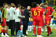 Roberto Martinez, Head coach of Belgium speaks to his players during the 2018 FIFA World Cup Russia Quarter Final match between Brazil and Belgium at Kazan Arena on July 6, 2018 in Kazan, Russia.