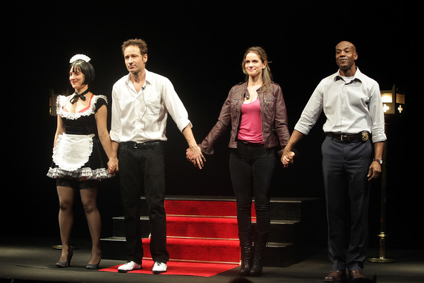 "(L-R) Tracee Chimo, David Duchovny, Amanda Peet, and John Earl Jelks perform  onstage during the opening night of ""The Break of Noon"" at Lucille Lortel Theatre on November 22, 2010 in New York City."