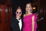 Paul Shaffer and Kinga Lampert attend the Breast Cancer Research Foundation Hot Pink Gala hosted by Elizabeth Hurley at Park Avenue Armory on May 17, 2018 in New York City.