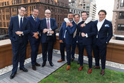 """(L-R) Dimitri Aubert, Jean-Charles Zufferey, Thierry Esslinger, Ahmad Shahriar, Anthony Cenname, Ian Bohen, and Max Girombelli attend the Breguet """"Classic Tour"""" at Carnegie Hall on July 12, 2018 in New York City."""