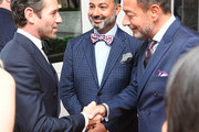 """(L-R) Ian Bohen, President of Breguet North America Ahmad Shahriar, and Vice President at Montres Breguet SA Jean-Charles Zufferey attend the Breguet """"Classic Tour"""" at Carnegie Hall on July 12, 2018 in New York City."""