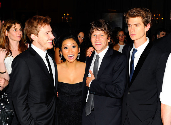 Brenda Song (L-R) Joseph Mazzello, Brenda Song, Jesse Eisenberg and Andrew Garfield attend the after party for the premiere of