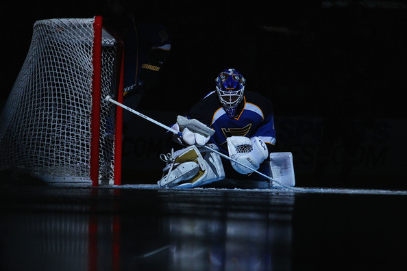 Brian Elliott Brian Elliott #1 of the St. Louis Blues stretches prior to playing against the Vancouver Canucks at the Scottrade Center on November 4, 2011 in St. Louis, Missouri.