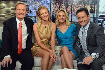 Brian Kilmeade Candice Swanepoel Visits 'FOX & Friends'