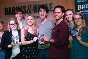 """(L-R) Kelli O'Hara, composer Jason Robert Brown and Steven Pasquale (C) with cast of """"Bridges Of Madison County"""" at Barnes & Noble, 86th & Lexington on May 23, 2014 in New York City."""