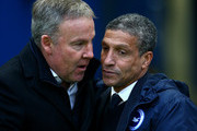 Brighton manager Chris Hughton greets Wolves manager Kenny Jackett during the Sky Bet Championship match between Brighton and Hove Albion and Wolverhampton Wanderers at The Amex Stadium on January 01, 2016 in Brighton, England.