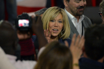 Brigitte Macron Presidential Candidate Emmanuel Macron Holds a Rally Meeting at Paris Event Center