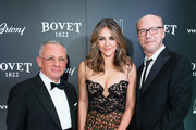 (L-R) Pascal Raffy, Elizabeth Hurley and Paul Haggis attend the 'Brilliant Is Beautiful' gala held at Claridge's Hotel on December 1, 2017 in London, England.