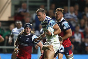 Jamie Roberts of Bath breaks with the ball during the Gallagher Premiership Rugby match between Bristol Bears and Bath Rugby at Ashton Gate on August 31, 2018 in Bristol, United Kingdom.