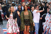 (l-r) Amanda Holden, Anthony McPartlin, David Walliams, Alesha Dixon, Declan Donnelly and Simon Cowell attend Britain's Got Talent London auditions at London Palladium on January 28, 2018 in London, England.