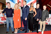 Simon Cowell, Amanda Holden, Stephen Mulhern, David Walliams, Alesha Dixon, Anthony McPartlin and Declan Donnelly during the 'Britain's Got Talent' Manchester photocall at The Lowry on February 06, 2019 in Manchester, England.
