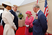 Prince Charles, Prince of Wales, Queen Elizabeth II, President of the United States, Donald Trump and First Lady of the United States, Melania Trump prepare to meet veterans during the D-day 75 Commemorations on June 05, 2019 in Portsmouth, England. The political heads of 16 countries involved in World War II joined Her Majesty, The Queen on the UK south coast for a service to commemorate the 75th anniversary of D-Day. Overnight it was announced that all 16 had signed an historic proclamation of peace to ensure the horrors of the Second World War are never repeated. The text has been agreed by Australia, Belgium, Canada, Czech Republic, Denmark, France, Germany, Greece, Luxembourg, Netherlands, Norway, New Zealand, Poland, Slovakia, the United Kingdom and the United States of America.