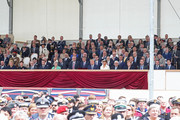 Front Row (L-R0 Erna Solberg, Governor-General of New Zealand, Patsy Reddy, Philip May, President of the France, Emmanuel Macron, British Prime Minister, Theresa May, President of the United States, Donald Trump, First Lady of the United States, Melania Trump, President of Greece, Prokopis Pavlopoulos, Chancellor of Germany, Angela Merkel, Prime Minister of the Netherlands, Mark Rutte, Prime Minister of Luxembourg, Xavier Bettel, and Prime Minister of Canada Justin Trudeau,  attend the D-day 75 Commemorations on June 05, 2019 in Portsmouth, England. The political heads of 16 countries involved in World War II joined Her Majesty, The Queen is on the UK south coast for a service to commemorate the 75th anniversary of D-Day. Overnight it was announced that all 16 had signed an historic proclamation of peace to ensure the horrors of the Second World War are never repeated. The text has been agreed by Australia, Belgium, Canada, Czech Republic, Denmark, France, Germany, Greece, Luxembourg, Netherlands, Norway, New Zealand, Poland, Slovakia, the United Kingdom and the United States of America. (Photo by Chris Jackson-WPA Pool/Getty Images