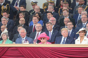 (Front row, L-R) British Prime Minister, Theresa May, Prince Charles, Prince of Wales, Queen Elizabeth II, President of the United States, Donald Trump and First Lady of the United States, Melania Trump attend the D-day 75 Commemorations on June 05, 2019 in Portsmouth, England. The political heads of 16 countries involved in World War II joined Her Majesty, The Queen is on the UK south coast for a service to commemorate the 75th anniversary of D-Day. Overnight it was announced that all 16 had signed an historic proclamation of peace to ensure the horrors of the Second World War are never repeated. The text has been agreed by Australia, Belgium, Canada, Czech Republic, Denmark, France, Germany, Greece, Luxembourg, Netherlands, Norway, New Zealand, Poland, Slovakia, the United Kingdom and the United States of America. (Photo by Chris Jackson-WPA Pool/Getty Images