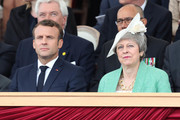 Britain's Prime Minister Theresa May and French President, Emmanuel Macron attend the D-day 75 Commemorations on June 05, 2019 in Portsmouth, England. The political heads of 16 countries involved in World War II joined Her Majesty, The Queen is on the UK south coast for a service to commemorate the 75th anniversary of D-Day. Overnight it was announced that all 16 had signed an historic proclamation of peace to ensure the horrors of the Second World War are never repeated. The text has been agreed by Australia, Belgium, Canada, Czech Republic, Denmark, France, Germany, Greece, Luxembourg, Netherlands, Norway, New Zealand, Poland, Slovakia, the United Kingdom and the United States of America. (Photo by Chris Jackson-WPA Pool/Getty Images