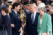 President of the United States, Donald Trump , British Prime minister, Theresa May and Prime minister of Canada Justin Trudeau attend the D-Day Commemorations on June 5, 2019 in Portsmouth, England. The political heads of 16 countries involved in World War II joined Her Majesty, The Queen on the UK south coast for a service to commemorate the 75th anniversary of D-Day. Overnight it was announced that all 16 had signed a historic proclamation of peace to ensure the horrors of the Second World War are never repeated. The text has been agreed by Australia, Belgium, Canada, Czech Republic, Denmark, France, Germany, Greece, Luxembourg, Netherlands, Norway, New Zealand, Poland, Slovakia, the United Kingdom and the United States of America.