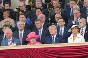 Prince Charles, Prince of Wales, Queen Elizabeth II, President of the United States, Donald Trump and First Lady of the United States, Melania Trump attend the D-day 75 Commemorations on June 05, 2019 in Portsmouth, England. The political heads of 16 countries involved in World War II joined Her Majesty, The Queen is on the UK south coast for a service to commemorate the 75th anniversary of D-Day. Overnight it was announced that all 16 had signed an historic proclamation of peace to ensure the horrors of the Second World War are never repeated. The text has been agreed by Australia, Belgium, Canada, Czech Republic, Denmark, France, Germany, Greece, Luxembourg, Netherlands, Norway, New Zealand, Poland, Slovakia, the United Kingdom and the United States of America. (Photo by Chris Jackson-WPA Pool/Getty Images