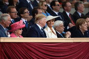 President of the United States, Donald Trump and First Lady of the United States, Melania Trump sit next to Prince Charles, Prince of Wales, Queen Elizabeth II, President of Greece, Prokopis Pavlopoulos (2nd R) and Chancellor of Germany, Angela Merkel (R) as they attend the D-Day Commemorations on June 5, 2019 in Portsmouth, England. The political heads of 16 countries involved in World War II joined Her Majesty, The Queen on the UK south coast for a service to commemorate the 75th anniversary of D-Day. Overnight it was announced that all 16 had signed a historic proclamation of peace to ensure the horrors of the Second World War are never repeated. The text has been agreed by Australia, Belgium, Canada, Czech Republic, Denmark, France, Germany, Greece, Luxembourg, Netherlands, Norway, New Zealand, Poland, Slovakia, the United Kingdom and the United States of America.