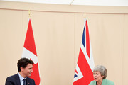 Canada's Prime Minister Justin Trudeau meets Britain's Prime Minister Theresa May during an event commemorating the 75th anniversary of the D-Day landing in Portsmouth, Britain on June 5, 2019 in Portsmouth, England. The political heads of 16 countries involved in World War II joined Her Majesty, The Queen on the UK south coast for a service to commemorate the 75th anniversary of D-Day. Overnight it was announced that all 16 had signed a historic proclamation of peace to ensure the horrors of the Second World War are never repeated. The text has been agreed by Australia, Belgium, Canada, Czech Republic, Denmark, France, Germany, Greece, Luxembourg, Netherlands, Norway, New Zealand, Poland, Slovakia, the United Kingdom and the United States of America.