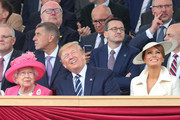 Queen Elizabeth II, President of the United States, Donald Trump and First Lady of the United States, Melania Trump attend the D-day 75 Commemorations on June 05, 2019 in Portsmouth, England. The political heads of 16 countries involved in World War II joined Her Majesty, The Queen is on the UK south coast for a service to commemorate the 75th anniversary of D-Day. Overnight it was announced that all 16 had signed an historic proclamation of peace to ensure the horrors of the Second World War are never repeated. The text has been agreed by Australia, Belgium, Canada, Czech Republic, Denmark, France, Germany, Greece, Luxembourg, Netherlands, Norway, New Zealand, Poland, Slovakia, the United Kingdom and the United States of America. (Photo by Chris Jackson-WPA Pool/Getty Images