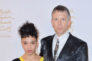 FKA Twigs and Jefferson Hack pose in the Winners Room at the British Fashion Awards 2015 at London Coliseum on November 23, 2015 in London, England.