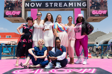 Britney Young Kimmy Gatewood Cast Of Netflix's 'Glow' Celebrates Premiere Of Season 2 With '80s Takeover On Muscle Beach