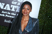 """Emayatzy Corinealdi attends The Broad Hosts West Coast Debut Of """"Soul Of A Nation: Art In the Age Of Black Power 1963-1983"""" at The Broad on March 22, 2019 in Los Angeles, California."""