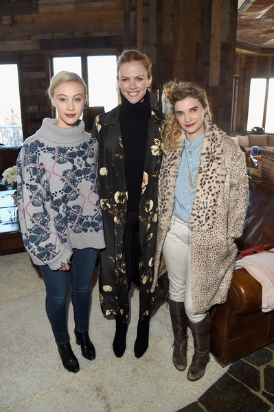 Glamour's Women Rewriting Hollywood Lunch At Sundance Hosted By Lena Dunham, Jenni Konner And Cindi Leive - 2016 Park City [clothing,fashion,fashion design,outerwear,fur,event,textile,scarf,fashion accessory,costume,jenni konner,lena dunham,women rewriting hollywood lunch,cindi leive,brooklyn decker,sarah gadon,sundance,l-r,park city,glamour]
