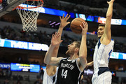 Tyler Zeller #44 of the Brooklyn Nets in the first half at American Airlines Center on November 29, 2017 in Dallas, Texas.  NOTE TO USER: User expressly acknowledges and agrees that, by downloading and or using this photograph, User is consenting to the terms and conditions of the Getty Images License Agreement.