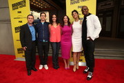 (L-R) Joe Lo Truglio, Andy Samberg, Melissa Fumero, Chelsea Peretti, Stephanie Beatriz and Terry Crews attend the 'Brooklyn Nine-Nine' steak-out block party and special screening event held at the Universal Studios Backlot on May 22, 2014 in Universal City, California.