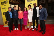 (L-R) Joe Lo Truglio, Andy Samberg, Melissa Fumero, Chelsea Peretti, Stephanie Beatriz Terry Crews and Jordan Peele attend the 'Brooklyn Nine-Nine' steak-out block party and special screening event held at the Universal Studios Backlot on May 22, 2014 in Universal City, California.