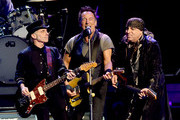 (L-R) Musicians Nils Lofgren, Bruce Springsteen and Stevie Van Zandt perform with Bruce Springsteen and the E Street Band at the Los Angeles Sports Arena on March 15, 2016 in Los Angeles, California.