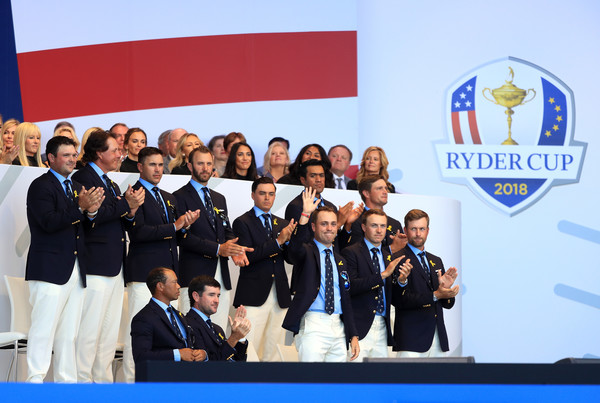 2018 Ryder Cup - Opening Ceremony [team,event,competition event,uniform,competition,championship,technology,stage equipment,company,ceremony,members,patrick reed,tony finau,back l-r,front l-r,states,team,ryder cup,ceremony,opening ceremony]