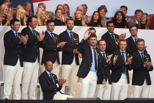 2018 Ryder Cup - Opening Ceremony [social group,team,event,uniform,competition,crew,choir,members,patrick reed,tony finau,back l-r,front l-r,states,team,ryder cup,ceremony,opening ceremony]