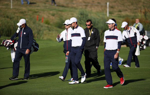 2018 Ryder Cup - Previews [previews,sport venue,recreation,competition event,championship,sports,sports equipment,golf club,player,professional golfer,team,zach johnson,bubba watson,webb simpson,united states,le golf national,paris,ryder cup,practice,walk]