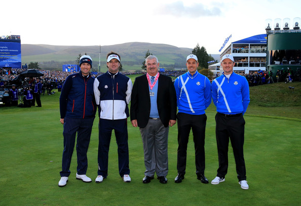 Morning Fourballs [sport venue,team,golf,competition event,championship,golf course,recreation,fourball,competition,event,john paramor,webb simpson,bubba watson,justin rose,l-r,tee,course,europe,morning fourballs,ryder cup]
