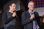 NFL player Drew Brees and Trey Wingo speak onstage at the Bud Light Madden Bowl at The Bud Light Hotel on January 30, 2014 in New York City.