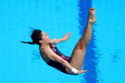 Han Wang of China competes during the Women's Diving 3m Springboard final on day eight of the Budapest 2017 FINA World Championships on July 21, 2017 in Budapest, Hungary.
