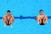 Daniel Goodfellow and Tom Daley of Great Britain compete during the Men's Diving 10M Synchro Platform, preliminary round on day four of the Budapest 2017 FINA World Championships on July 17, 2017 in Budapest, Hungary.