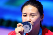 Silver medalist Han Wang of China poses with the medal won during the Women's Diving 3m Springboard final on day eight of the Budapest 2017 FINA World Championships on July 21, 2017 in Budapest, Hungary.