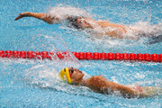 (Bottom-Top) Jiayu Xu of China and Matt Grevers of the United States compete during the Men's 100m Backstroke final on day twelve of the Budapest 2017 FINA World Championships on July 25, 2017 in Budapest, Hungary.