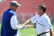 Head coach Rex Ryan of the Buffalo Bills greets head coach Jeff Fisher of the Los Angeles Rams before the game at Los Angeles Memorial Coliseum on October 9, 2016 in Los Angeles, California.