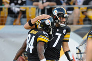 Antonio Brown #84 celebrates his touchdown with Ben Roethlisberger #7 of the Pittsburgh Steelers during the first quarter against the Buffalo Bills at Heinz Field on August 16, 2014 in Pittsburgh, Pennsylvania.